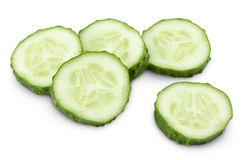Sliced of green cucumber on white Royalty Free Stock Photo