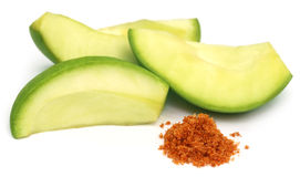Sliced green mango with chili powder and salt Royalty Free Stock Images