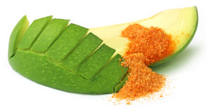 Sliced green mango with chili powder and salt Royalty Free Stock Image
