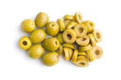 Sliced green olives. On white background Stock Images