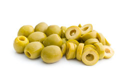 Sliced green olives. On white background royalty free stock images