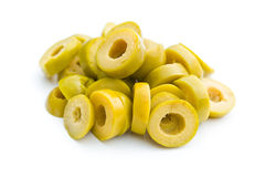 Sliced green olives. On white background royalty free stock photography