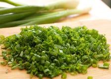 Sliced green onions Stock Photo