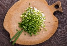 Sliced green onions on cutting Board. The view from the top Stock Image