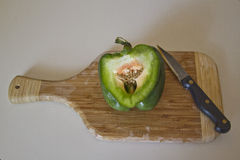 Sliced Green Pepper on a Cutting Board Royalty Free Stock Image