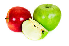 Sliced green and red apples isolated on the white Stock Images
