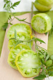 Sliced Green Tomatoes Royalty Free Stock Images