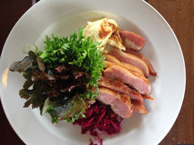 Sliced Grill Pork With Mash Potato and salad Stock Photos
