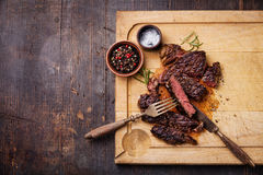 Sliced grilled Beef steak Ribeye Royalty Free Stock Photos