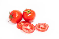 Sliced group of red tomatoes Stock Photo