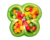 Sliced and haft bell peppers Royalty Free Stock Photos