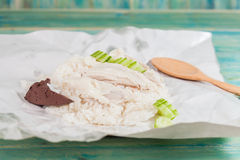 Sliced Hainan-style chicken with marinated rice Royalty Free Stock Image