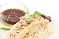 Sliced Hainan-style chicken with marinated rice Royalty Free Stock Photography