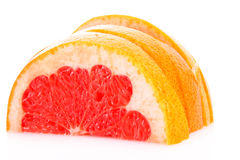 Sliced half of grapefruit isolated Royalty Free Stock Photography
