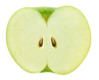 Sliced in half green apple isolated on white with clipping path Stock Photography