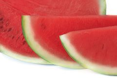 Sliced or half of watermelon isolated on white background. Stock Photo