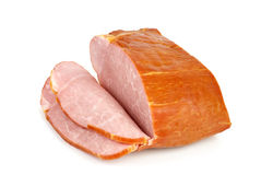 Sliced ham. Isolated on the white background Stock Photography