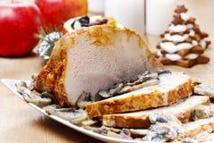 Sliced ham with agaricus sauce Royalty Free Stock Photos