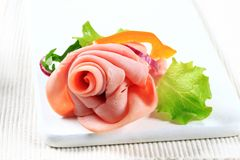 Sliced ham arrangement Royalty Free Stock Photo