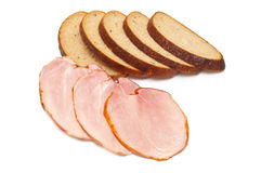 Sliced ham and bread Stock Photos