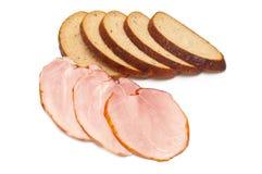 Sliced ham and bread Stock Photos