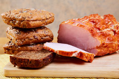 The sliced ham and bread Stock Image