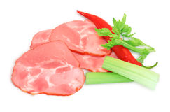 Sliced ham, celery and chili pepper Stock Photo