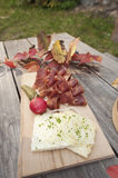 Sliced ham and cheese on table Royalty Free Stock Photo