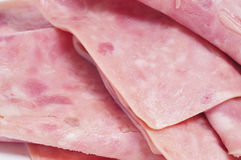 Sliced ham. Closeup of some slices of ham Stock Photos
