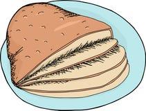 Sliced Ham on Plate Stock Image