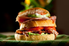 Sliced ham sandwich. Ham sandwich with tomato and cheese sauce on a focaccia bun Royalty Free Stock Images