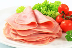 Sliced ham. Stack of thinly sliced ham Stock Photography