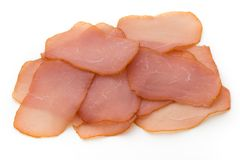 Sliced boiled ham sausage isolated on white background, top view Royalty Free Stock Photography