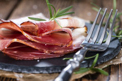Sliced Ham on wood Royalty Free Stock Images