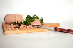 Sliced ham on wooden board Royalty Free Stock Images