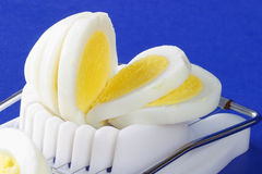 Sliced hard-boiled egg in egg slicer. A freshly cooked sliced hard-boiled egg in an old fashioned egg slicer Stock Photos