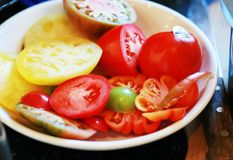 Sliced Heirloom tomatoes Royalty Free Stock Image