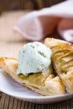 Sliced homemade apple tart with ice cream Stock Photo