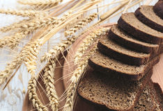 Sliced Homemade Bread And Ears Of Wheat Royalty Free Stock Image