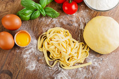 Sliced homemade noodle Royalty Free Stock Images