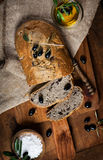 Sliced homemade olive bread, top view Royalty Free Stock Image