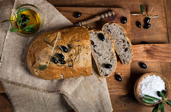 Sliced homemade olive bread, top view Royalty Free Stock Images