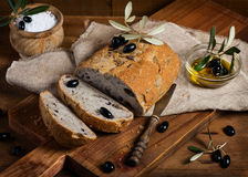 Sliced homemade olive bread Royalty Free Stock Photos