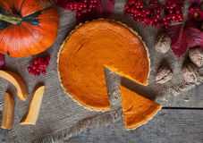 Sliced homemade pumpkin tart pie sweet dessert Royalty Free Stock Images