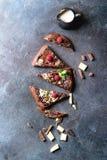Dessert chocolate pizza Royalty Free Stock Image