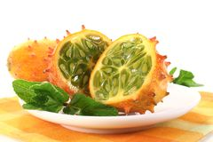 Sliced horned melon with napkin Stock Image