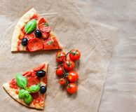 Sliced Hot fresh pizza with meat and mozzarella cheese with copy Stock Image