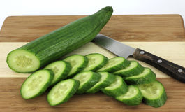 Sliced Hot House Cucumbers Stock Photo