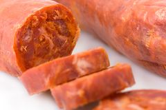 Sliced Iberian chorizo, from Barrancos Stock Photos