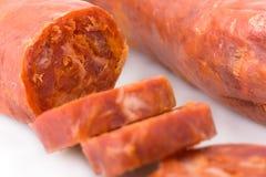 Sliced Iberian chorizo, from Barrancos Stock Photos